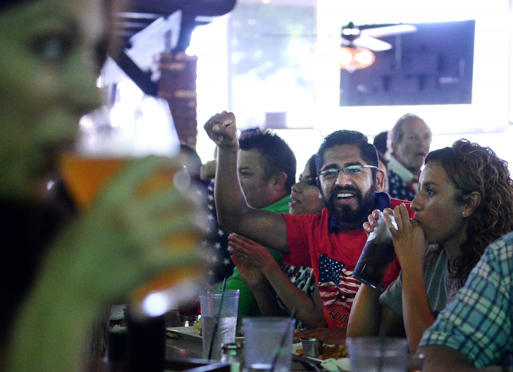 . Soccer fans watch the USA vs Belgium world cup game during a viewing party on Tuesday, July 1, 2014 at Darby\'s American Cantina in Redlands, Ca. (Photo by Micah Escamilla/The Sun)