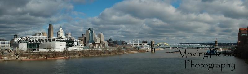 Cincinnati skyline - from Clay Wade Bailey bridge - January, 2006