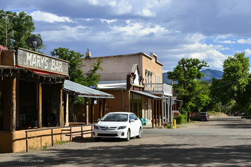 Cerrillos, New Mexico - First Street with Mary's Bar and Simoni Building