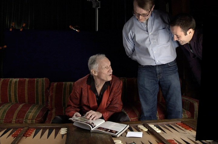 Description of . Behind-the-scenes, Hugh Hefner with filmmakers Luke Poling (Center) and Tom Bean (Photo: Laemmle Zeller Films)