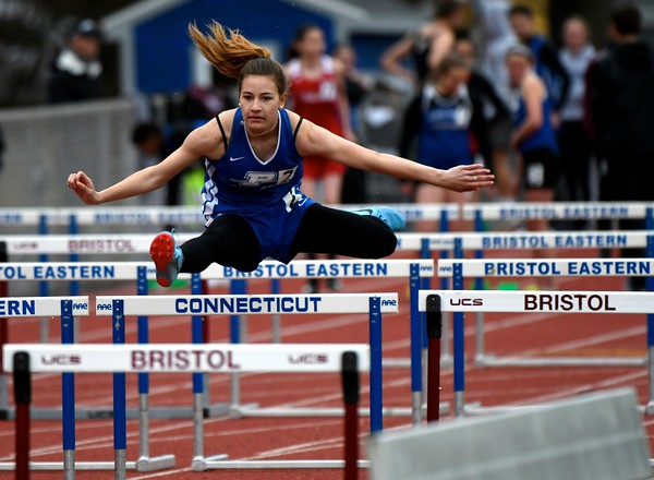 4/27/2018 Mike Orazzi | Staff Plainville High School's Caitlyn Quilter during the Bristol Eastern High School track invitational held on Friday.