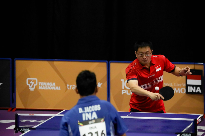 PARA TABLE TENNIS - Singapore's MU YU GUANG in action during Men Team - Class 10 Round Robin Match against Team Indonesia at MITEC Hall 7 on September 17th, 2017 (Photo by Sanketa Anand)
