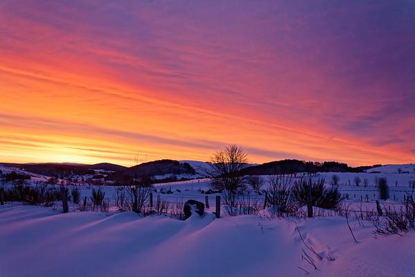 Lever de soleil d'hiver - Aubrac