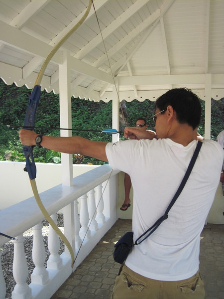 Archery with the Canadians. It seemed like most of the people staying at the resort were from Canada.