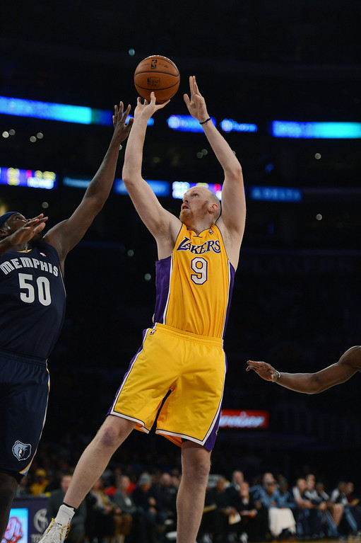 . The Lakers� Chris Kaman #9 during their game against the Grizzlies at the Staples Center in Los Angeles Friday, November 15, 2013. The Grizzlies beat the Lakers 89-86.  (Photo by Hans Gutknecht/Los Angeles Daily News)