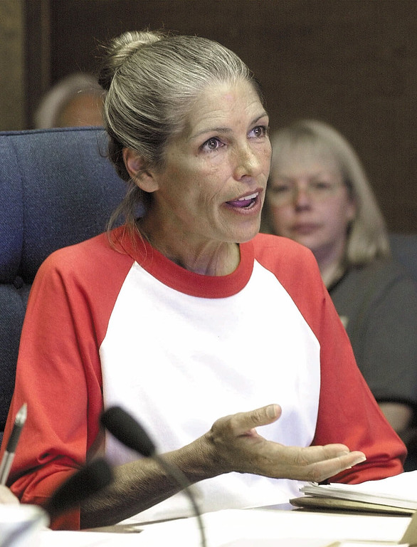 . Leslie Van Houten, 50,  speaks during her parole hearing at the California Institution for Women in Chino, Calif., Tuesday, June 6, 2000. Van Houten, a former Charles Manson follower, was convicted in the 1969 murders of Rosemary and Leno LaBianca. Van Houten, who is is serving life sentence, was denied parol for the 13th time. (AP Photo/Chris Urso, Pool)