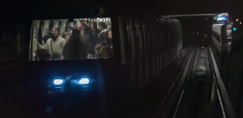 From the front of one Metro car into  another...