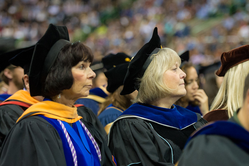 Dr. Bunny Forgione and Dr. Eve Layman during the 2015 Fall Commencement Ceremony. This will be Dr. Layman's last time partaking in commencement as she goes into retirement.