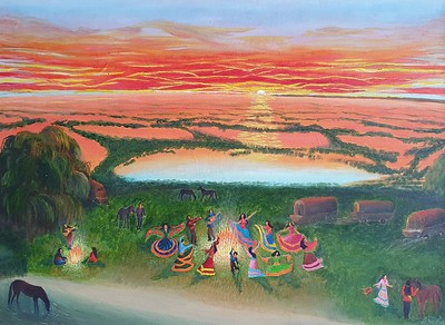 """""""Holiday in the gypsy camp"""" (oil on canvas) by Stanislav Bruns"""