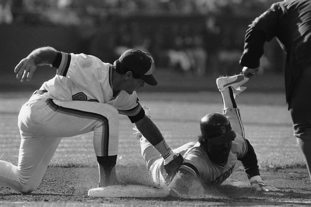 . San Diego Padres Steve Garvey, left, applies the tag to Detroit Tigers Chet Lemon on a pickoff at first base in the second inning of the All-Star game, July 10, 1984, San Francisco, Calif. The out was the third of the inning. (AP Photo/Eric Risberg)