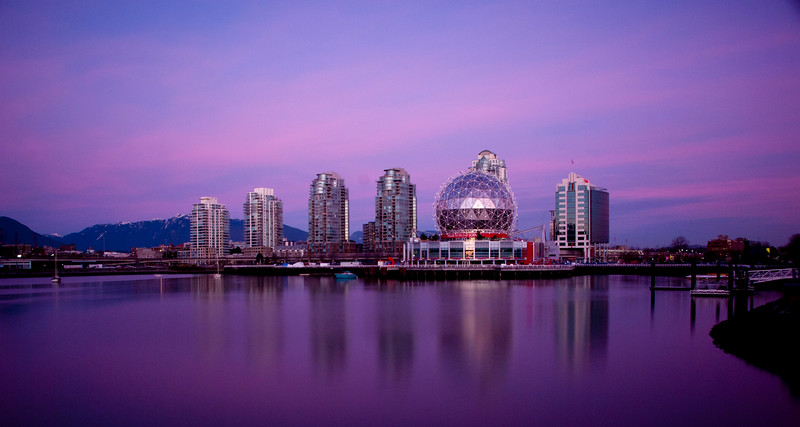 Science world with coastel mountains in the backdrop