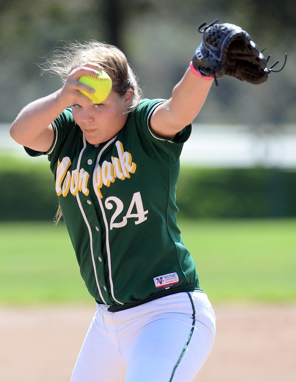 . Moorpark High School\'s Kassidy Simons #24 pitches during their girls softball game against Simi Valley High School at  Rancho Santa Susana Community Park in Simi Valley Tuesday April 15, 2014. (Photo by Hans Gutknecht/Los Angeles Daily News)