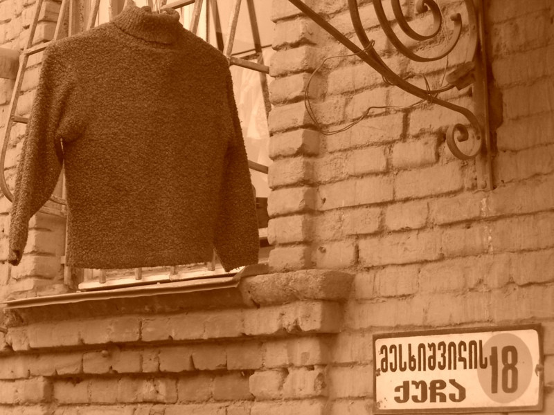 Sweater Hanging in Street - Tbilisi, Georgia