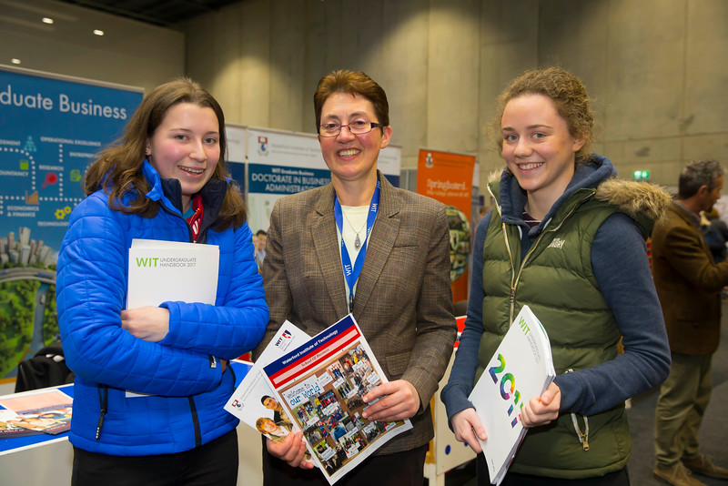 21/01/2017.  Waterford Institute of Technology (WIT) open day at WIT Arena. Pictured are Karen Walsh and Aine Tobin, Enniscorthy with pictured centre is Sheila O'Donohoe WIT.   Picture: Patrick Browne