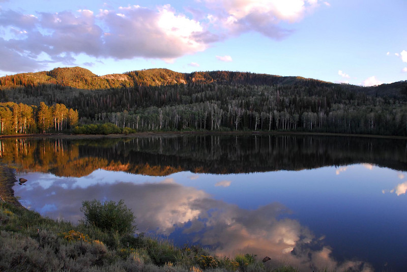 8/11/07 – I went for a long ATV ride and snapped this as the sun was setting. The mountain development is called Timber Lakes. This view makes it easy to understand where the name came from.