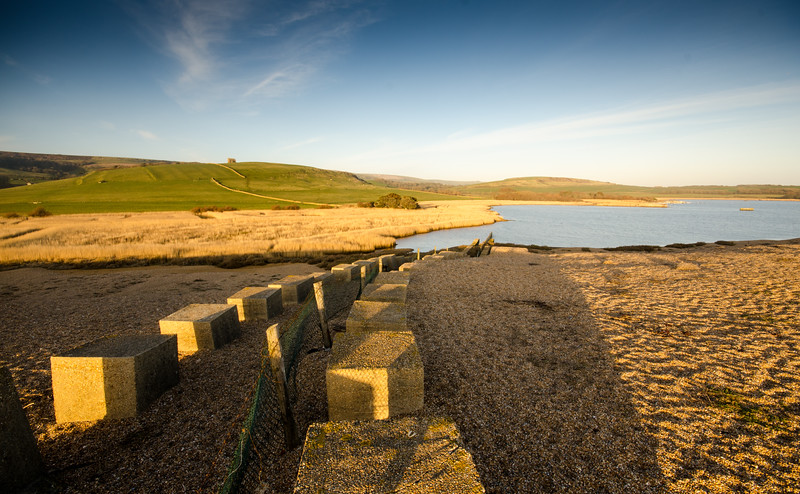 Old defences on Chesil Beach