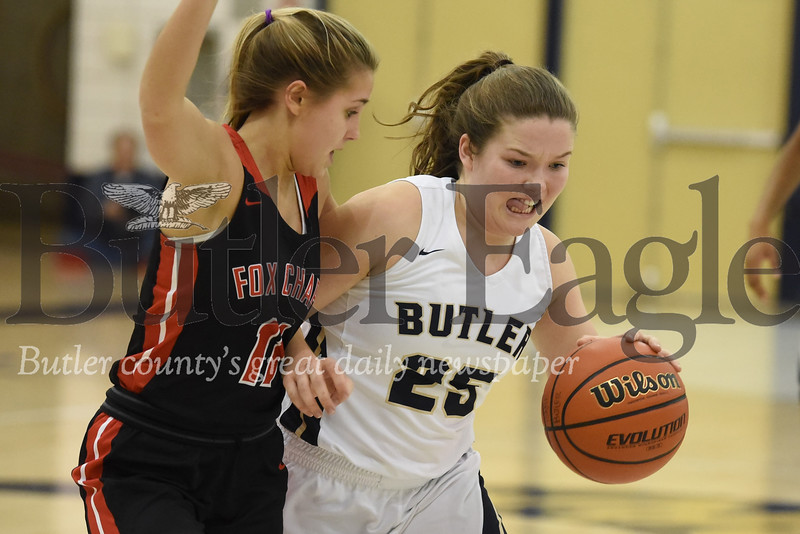Butler guard Hailey Metzger drives toward the lane against Fox Chapel's Gabby Guererri in Thursday home game. Butler fell to Fox Chapel 56-51 in the closing minutes. Seb Foltz/Butler Eagle