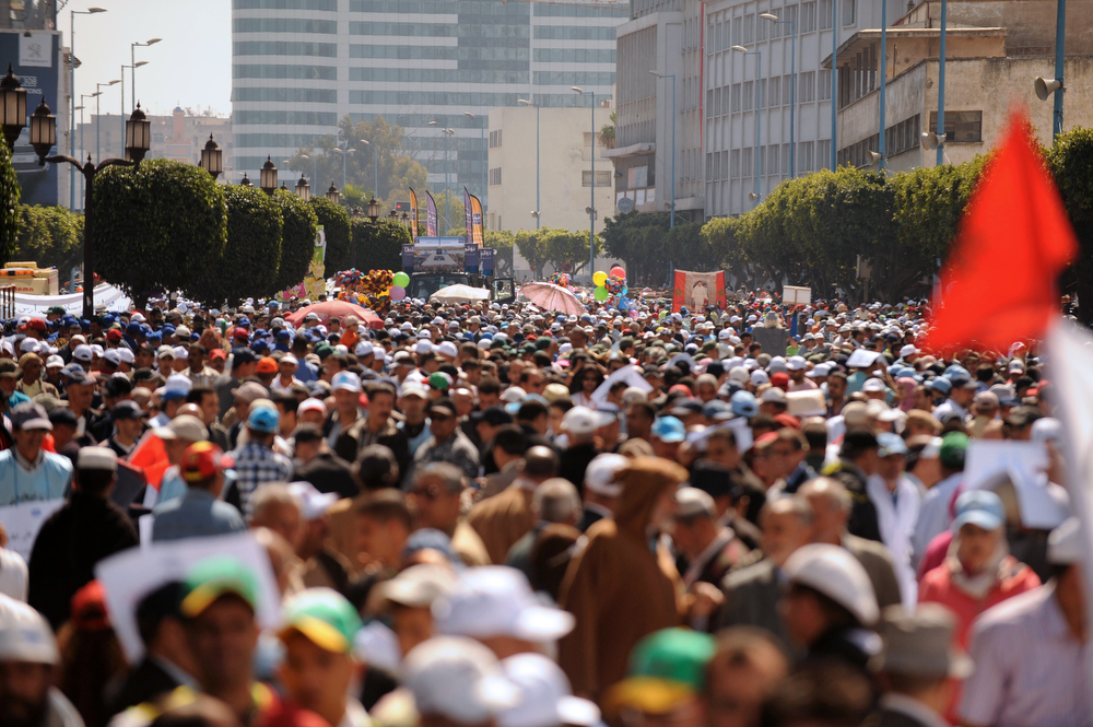 . Moroccan protesters take part in a rally organized by the Moroccan Unions and marking the International Workers Day on May 1, 2014. (FADEL SENNA/AFP/Getty Images)