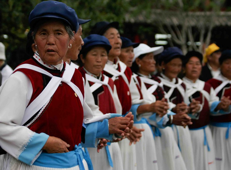 Native elderly ladies of  麗江, China 2009