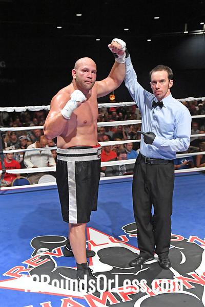 Bout 6 Jason Bergman, Red Wrist-wraps -vs- Arthur Saribekian, Blue Wrist-wraps, Heavyweight Pro Boxing