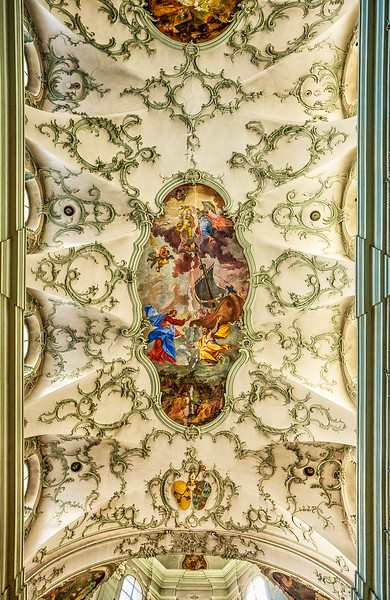 Ceiling of St. Peter's Abbey Church, Salzburg, Austria.