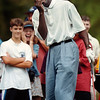Former NBA great Michael Jordan giggles after botching a putt during a golf tournament in North Carolina.
