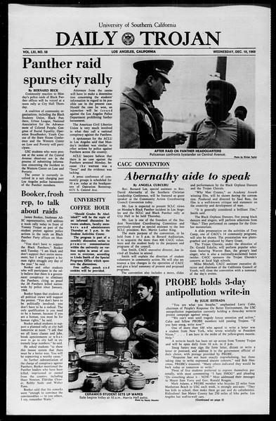 Daily Trojan, Vol. 61, No. 58, December 10, 1969