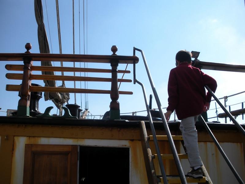 Stevie on board the Balclutha Hyde Street Pier at Fisherman's wharf, San Francisco, CA
