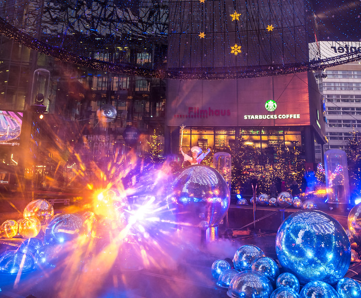 Show on Sony Center in Berlin before Christmas