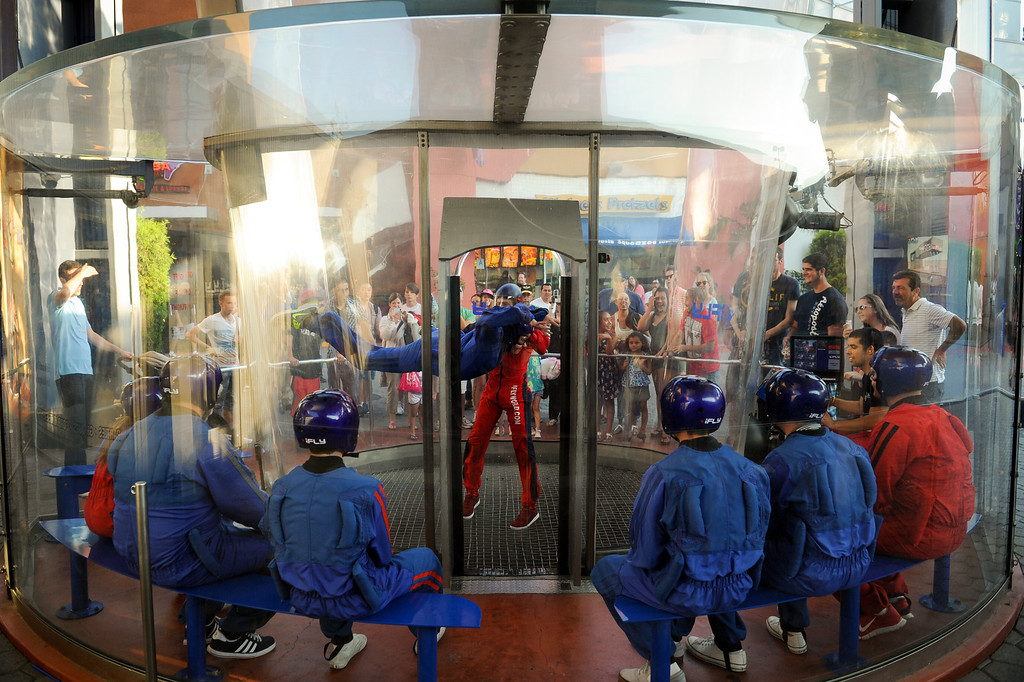 . People wait their turn at the iFly Indoor Skydiving at Universal CityWalk. Friday, July 6, 2013. (Michael Owen Baker/L.A. Daily News)