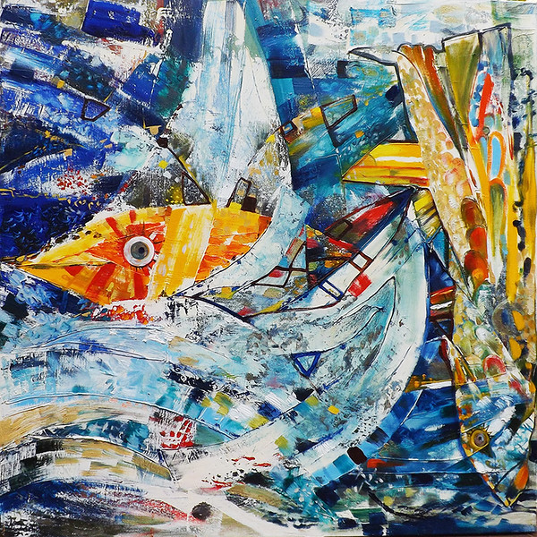 """""""Boat and Flying Fishes"""" (oil on canvas) by Katalina Savola"""