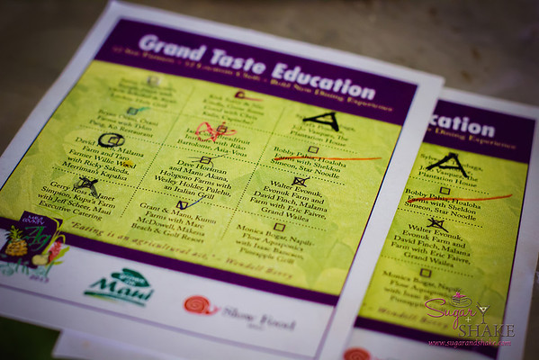 Ticket card for the Grand Taste Education, offering 12 dishes from Maui top chefs. © 2013 Sugar + Shake
