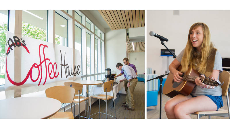 Olivia Whitehurst sings and plays guitar for a crowded Tejas Lounge during CAB's Coffeehouse.More photos: https://flic.kr/s/aHskyVN1PK