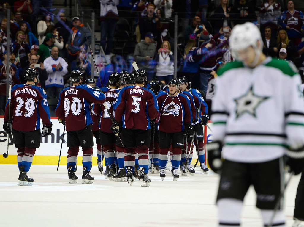 . Colorado Avalanche players celebrate the end of the game Saturday, February 14, 2015 at the Pepsi Center in Denver, Colorado. Avalanche won 4-1 over the Stars. (Photo By Brent Lewis/The Denver Post)
