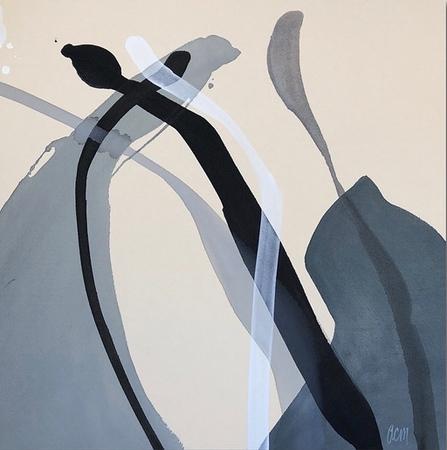"Counterbalance 2-Midkiff, 50""x50"" acrylic painting on raw canvas"