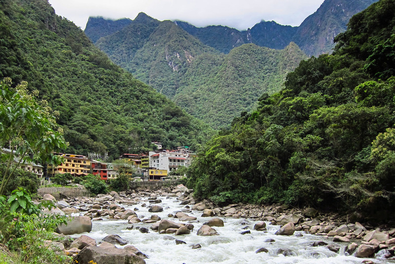The town of Aquas Calientes and the Urubamab river at Machu Picchu.