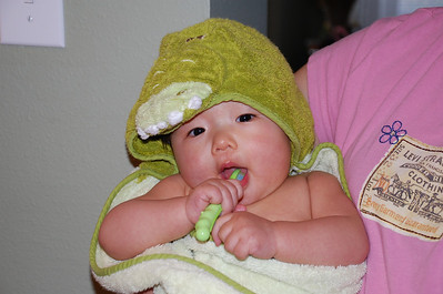 March 21, 2008 - Emily brushing her two teeth