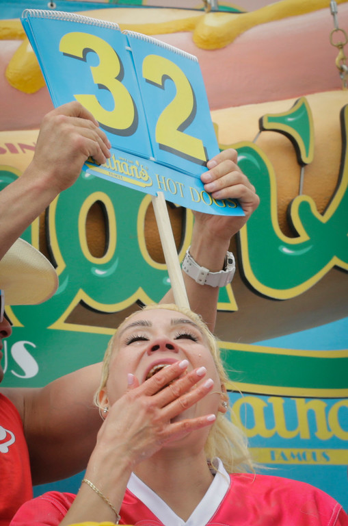 . Miki Sudo eats her way to victory as the 2017 Women\'s Nathan Famous Hot Dog Eating Champion of the World after she consumed 41 hot dogs and buns in 10 minutes, Tuesday July 4, 2017, in New York. (AP Photo/Bebeto Matthews)