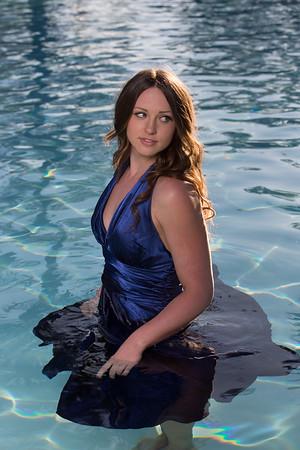Blue Dress in Pool
