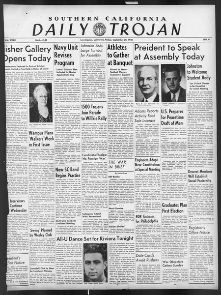 Daily Trojan, Vol. 32, No. 6, September 20, 1940
