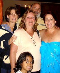 """Diane Sobel, Gail Nystrom, """"Big Mike"""" Michael Forbes, Vicki Skinner & Kayla honoring Gail's Birthday in Escazu, Costa Rica.  In his time in Costa Rica, Mike was often lending his home &/or culinary skills to help various charities•others with one of his favorite being Gail's CRHF - Costa Rican Humanitarian Foundation • Fundacion Humanitaria -  https://facebook.com/CRHumanitarianFoundation  •  http://CRHF.org"""