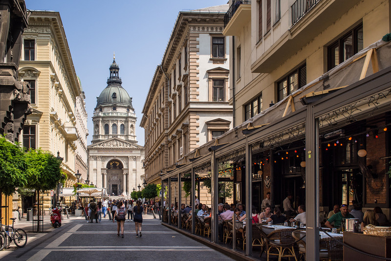 Pedestrian zone, leading to St. Istvan Cathedral, Budapest, Hungary