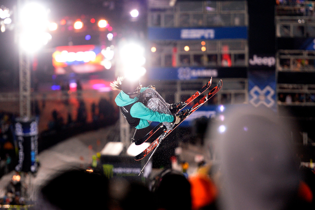 . Angeli VanLaanen rides in front of the lights during the women\'s ski halfpipe final. X Games Aspen at Buttermilk on Friday, January 24, 2014. (Photo by AAron Ontiveroz/The Denver Post)