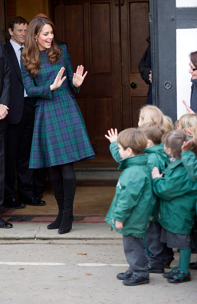 ". Kate, the Duchess of Cambridge,  visits the pre-prep school for the under-5s, during her visit to St. Andrew\'s School, where she  attended from 1986 till 1995, in Pangbourne, England, Friday, Nov. 30, 2012. The royal, formerly known as Kate Middleton, played hockey and revealed her childhood nickname - Squeak - when she returned to her elementary school for a visit Friday. Kate told teachers and students at the private St. Andrew\'s School in southern England that her 10 years there were ""some of my happiest years.\"" She said that she enjoyed it so much that she had told her mother she wanted to return as a teacher. (AP Photo/Arthur Edwards)"