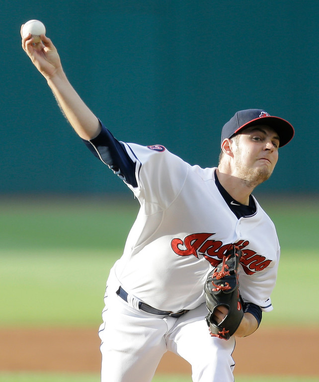 . Cleveland Indians starting pitcher Trevor Bauer delivers in the first inning of a baseball game against the Detroit Tigers, Monday, June 22, 2015, in Cleveland. (AP Photo/Tony Dejak)