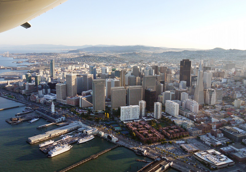 Above San Francisco's famous waterfront piers.