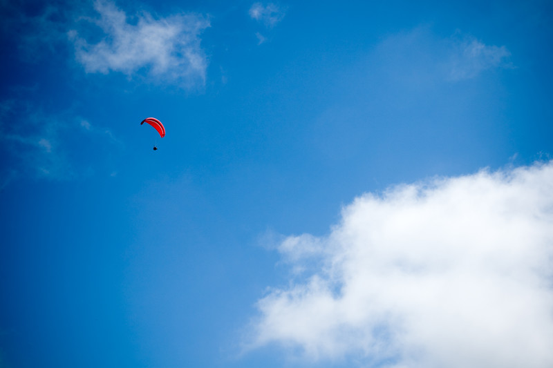 Look...up in the sky!  In all of the times I have run upon this trail, I have never seen a paraglider here.  Good thing I have my DSLR with me today