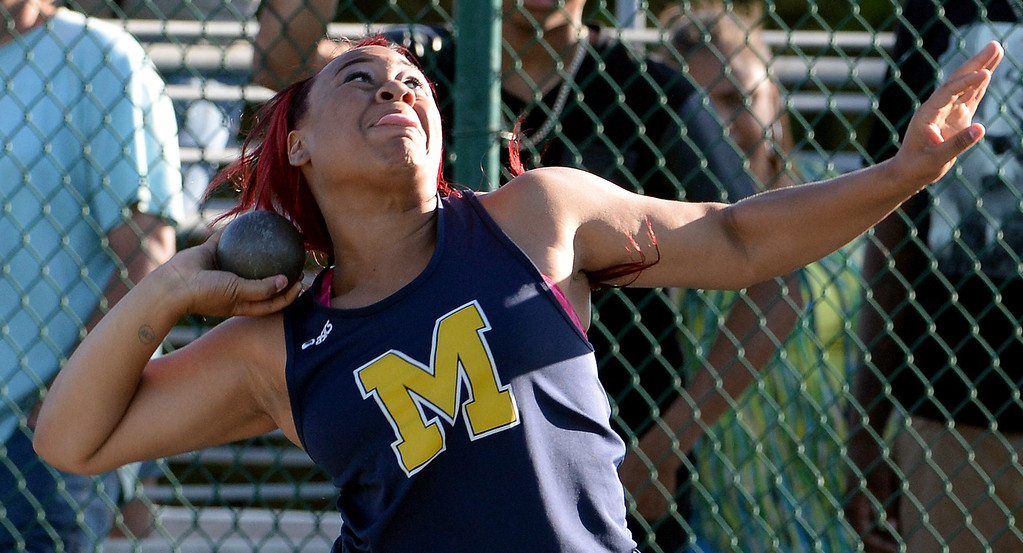 . Muir\'s Tierra Adams competes in the shop put during the CIF-SS Masters Track and Field meet at Falcon Field on the campus of Cerritos College in Norwalk, Calif., on Friday, May 30, 2014.   (Keith Birmingham/Pasadena Star-News)