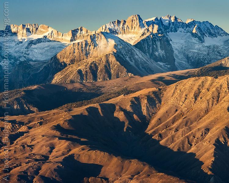 Sunrise on the Palisades, Sierra Nevada, California, October 2015.