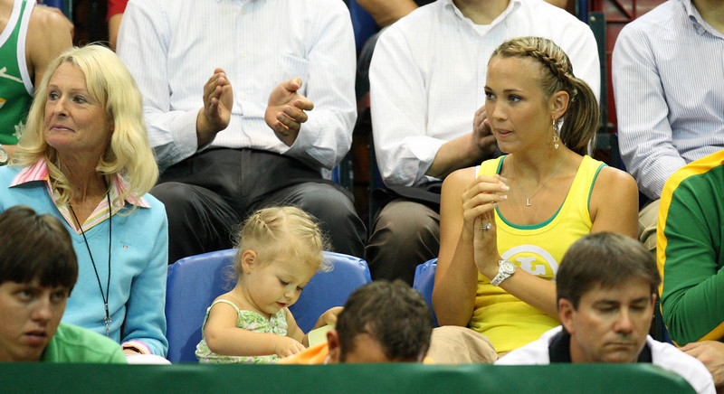 11 April 2008 Townsville, Qld, Australia: Mia Hewitt sits between grandmother Cherilyn Rumball and mum Bec at the Davis Cup tie between Australia and Thailand - Photo: Cameron Laird (Ph: 0418 238811)